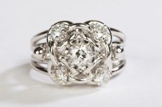 Ring - 18 kt white gold - Diamonds of 0.70 ct - Size 53