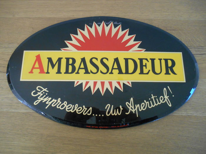 Rare glacoide advertising sign of 'Ambassadeur aperitief' from 1955