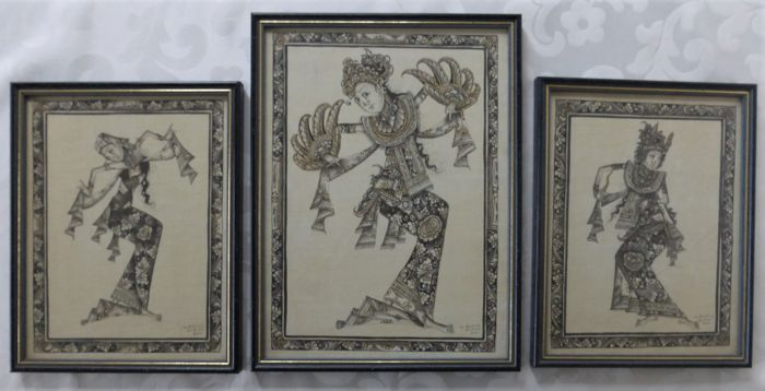 Three paintings - Folk art - Balinese female dancers - Batuan art drawing black/gold on linen - Bali, Indonesia - 1990