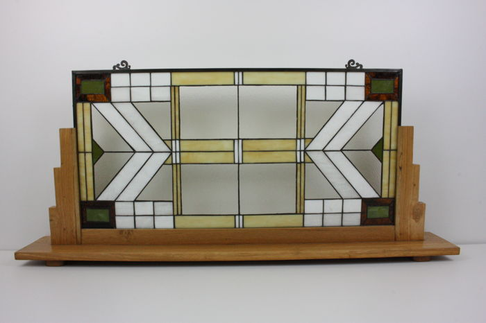 Stained Glass Window Panel With Wooden Display Stand In American Art Unique Glass Art Display Stands