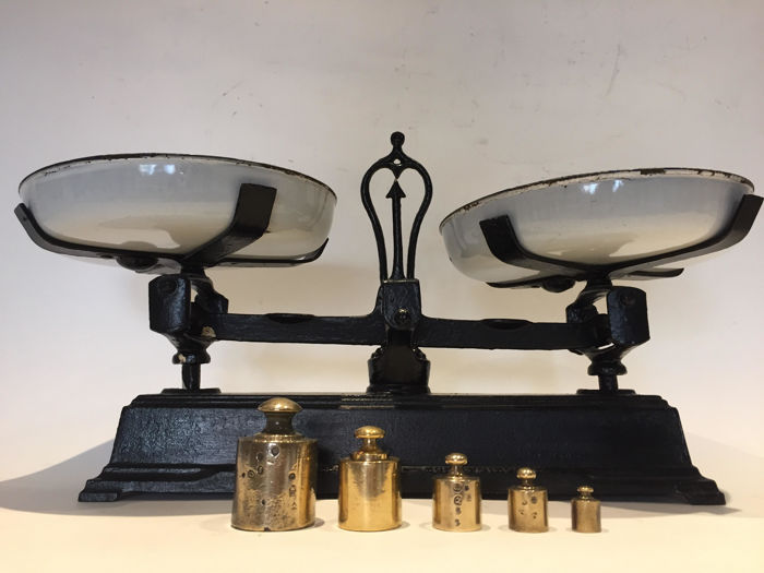 Magnificent antique scales with a set of cast iron weights and white enamel trays in perfect condition