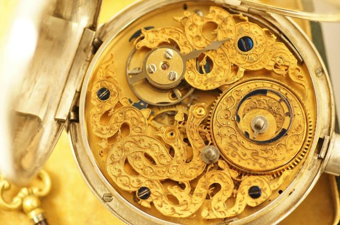 Qing Dynasty Chinese  duplex  - pocket watch skeleton movement - no. 23396 - Heren - Vóór 1850