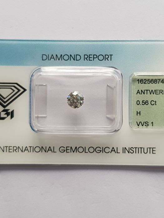 0.56 ct brilliant cut diamond, H VVS1