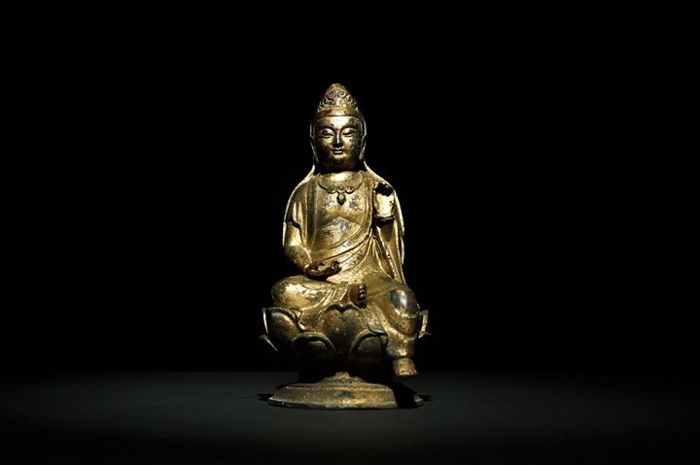 Copper-painted gold Goddess of Mercy Guan Yin - Taiwan - 19th century