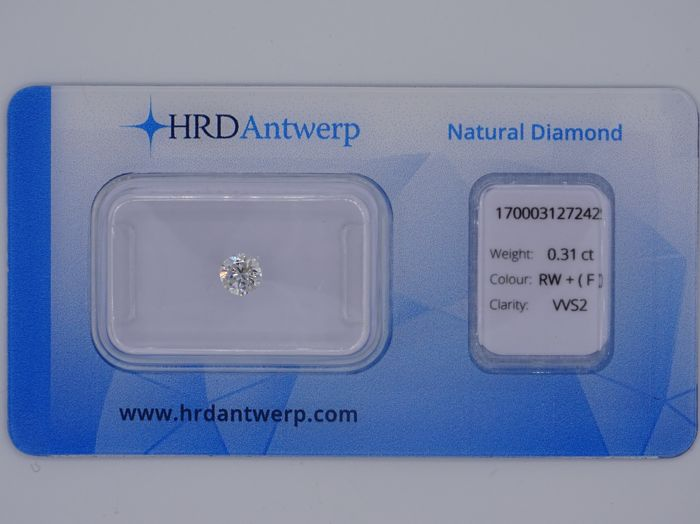 0.31ct brilliant cut diamond - colour Rare White (F) - VVS2