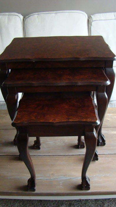 Three mahogany Queen Ann style side tables