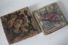 Two antique tiles with portrait and flower - Iran/Persia - c. 1880–1900 (Qajar dynasty)