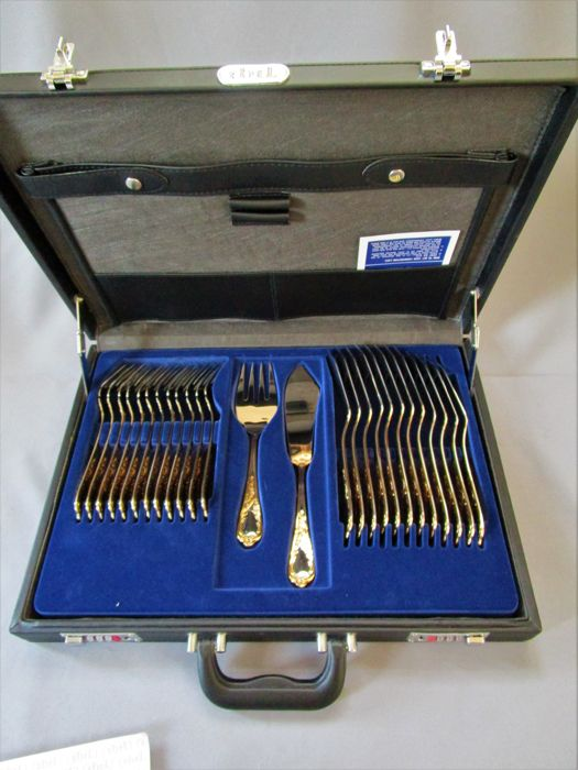 EBEL luxury fish cutlery in the original case - Vienna model - 12 people / 26 pieces - 23/24 karat partially hard gold plated - new/unused