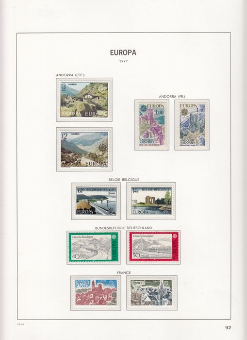 World - Congo, India, Nigeria, Romania, Austria, Latvia on stock cards and Europa Stamps 1977/1980 in Davo LX album.