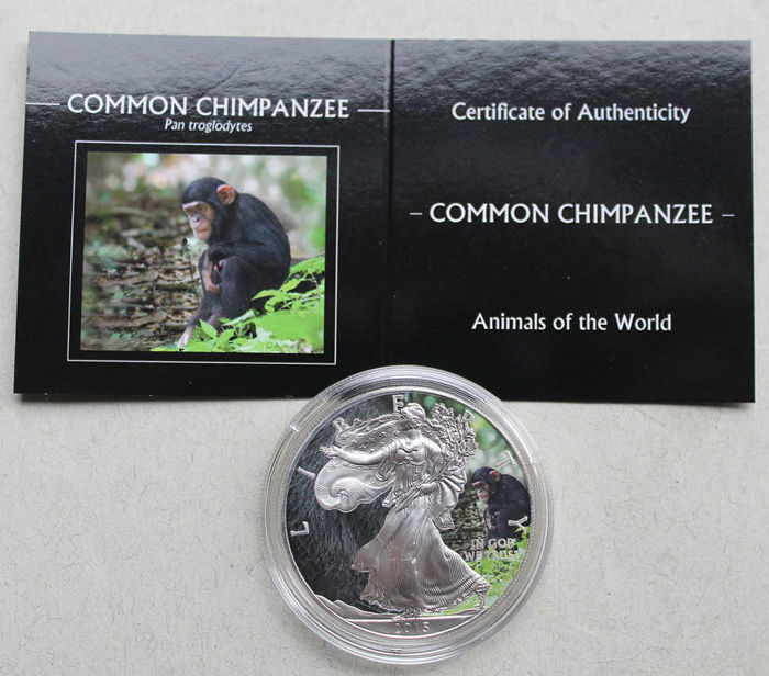 United States - Dollar 2015 Eagle 'Animals Chimpanzee' - 1 oz silver