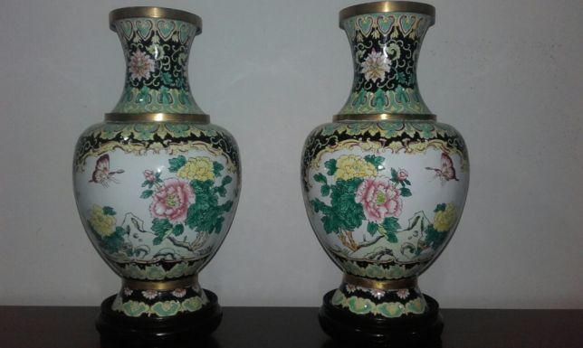 Pair of jars in enamel cloisonne family rose - China - mid XX century