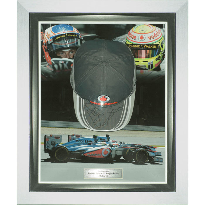 Signed Sergio Pérez & Jenson Button  F1 McLaren Cap Display - Formula One