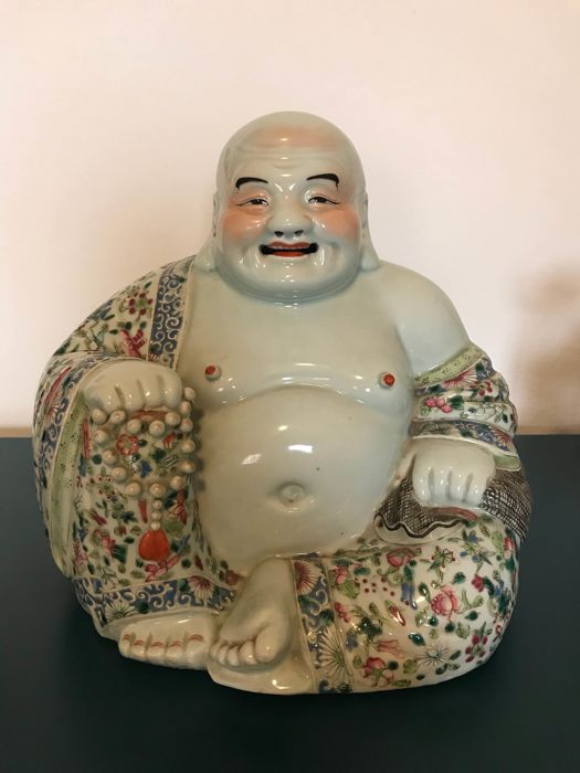 A Famille Rose porcelain figure of Budai, zu mao shen studio mark -