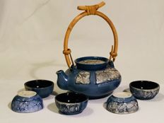 Beautiful ceramic tea service - Tenmoku Pottery - China - Approx. 1980