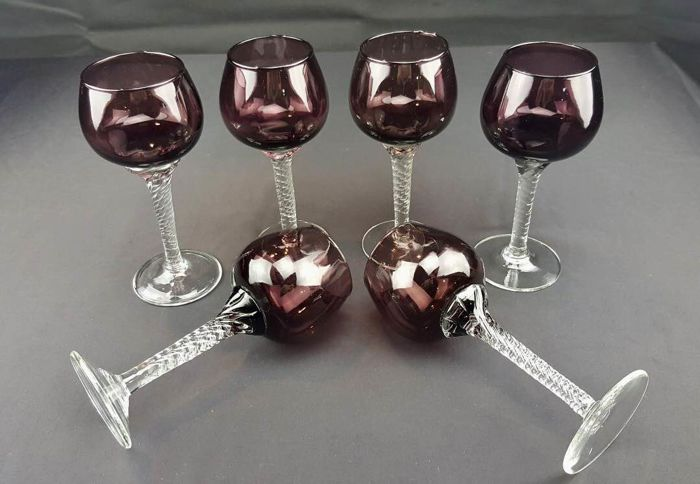 Set of 6 Cut-Crystal Glasses with Spiral-Shaped Stem