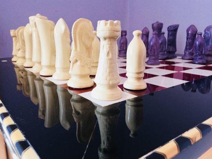 Giant replica of Limoges chess plus Grenadine marquetry board of 60 x 60 cm, 1970