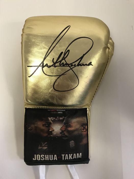 Very rare Anthony Joshua Original Hand signed glove - One of only a few Joshua v Takam promotional gloves made