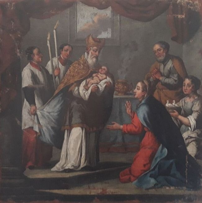 "Venetian artist, oil on canvas, 17th century - Title ""La presentazione di Gesù al tempio""."