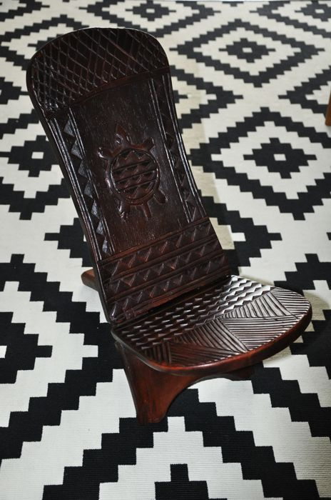 Child sized very old hand carved African 2 piece hard wood chair -Turtle motif.