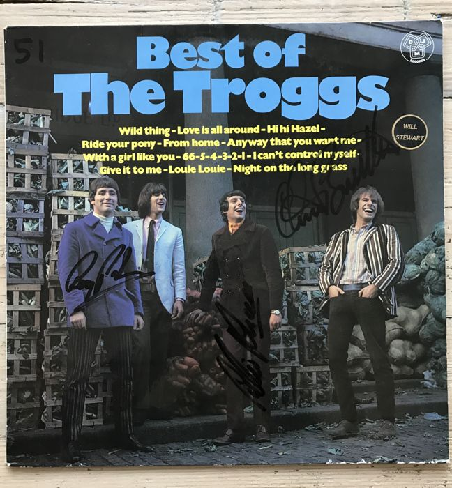 "The Troggs:  signed  LP album ""The Best of The Troggs"" signed by Reg Presley, Chris Britton and Pete Lucas"