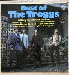 """The Troggs:  signed  LP album """"The Best of The Troggs"""" signed by Reg Presley, Chris Britton and Pete Lucas"""