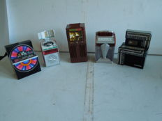 5x Mini jukeboxes - collectors items. Including Wurlitzer - Seeburg etc.