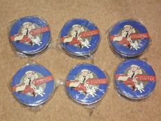 Hergé - 6x leather belt Citime new in box - 4x LA01 + 2x LA03 - Tintin Globe Trotter (1993)