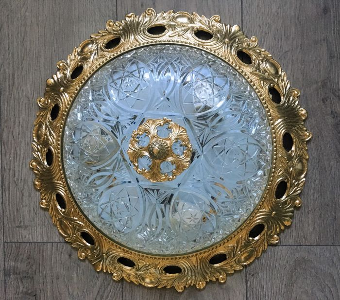Large, early 20th century, bronze, ceiling lamp