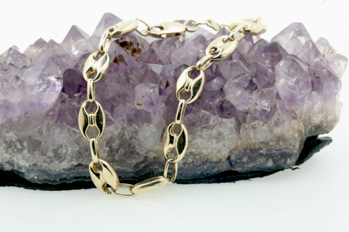 Beans bracelet  made from 585 / 14 kt yellow gold - 19 cm