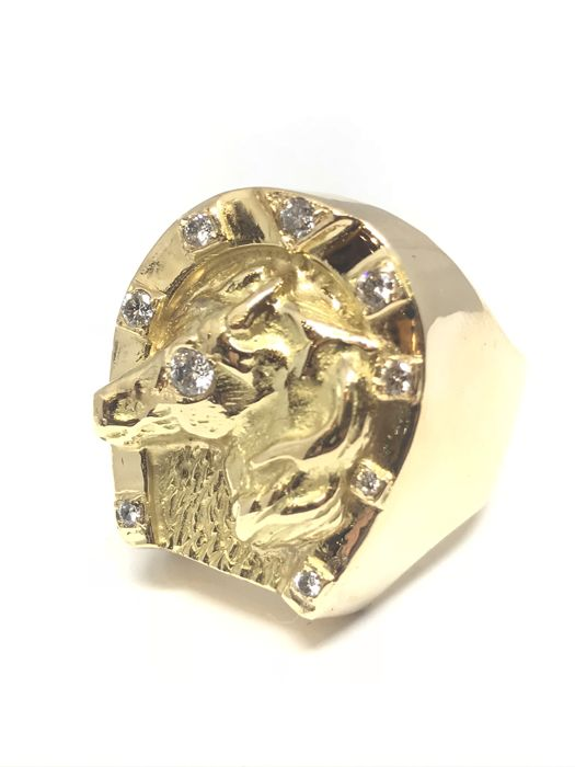 """Horseshoe"" ring in 18 kt gold 750, set with 8 diamonds of 0.03 ct + 1 of 0.05 ct, size 65, diamond colour H-I / VS"