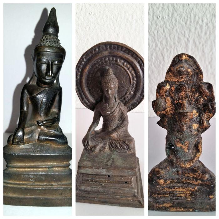 Lot of three Buddhas - Laos/Thailand - 2nd half 20th century