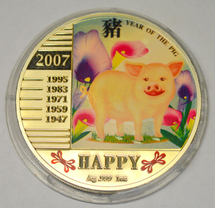 Niue - 1 Dollar 2007 'Year of the Pig - Happy' - silver