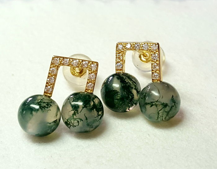 14 k/585 gold  Moss Agate earrings ,Weight : approx 4 g