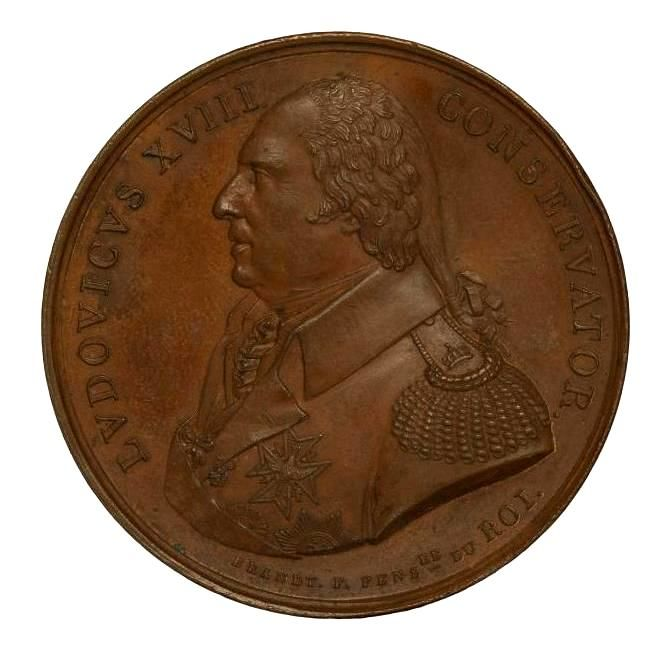 France - Medal 1815 Roi Louis XVIII 'The French Academy in Rome' - bronze