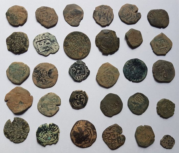 Spain - Lot of 30 Coins from Spanish Colonies of the House of Austria, 1500–1700 AD - Europe