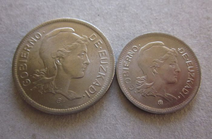 Spain - Civil War 1937 - Gobierno de Euzkadi - series of 2 nickel coins (1 peseta - 2 pesetas)