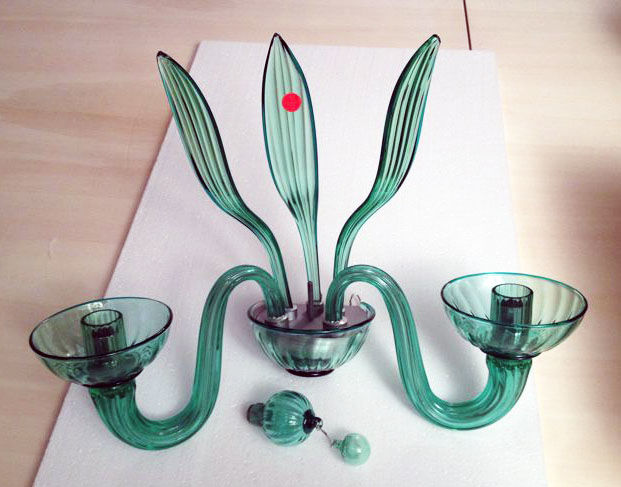 Venini - Green glass wall lamp