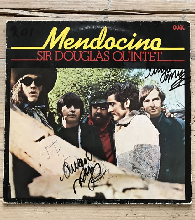 "Sir Douglas Quintet : Double signed LP  album ""Mendocino"" by Doug Sahm and Augie Meyers"