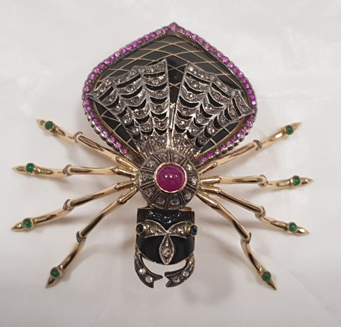 """Black widow"" brooch in 18 kt gold, enamels and precious stones"