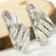 No Reserve Price - 14k White Gold Clasp Earrings Set with 0.25 ct Diamond