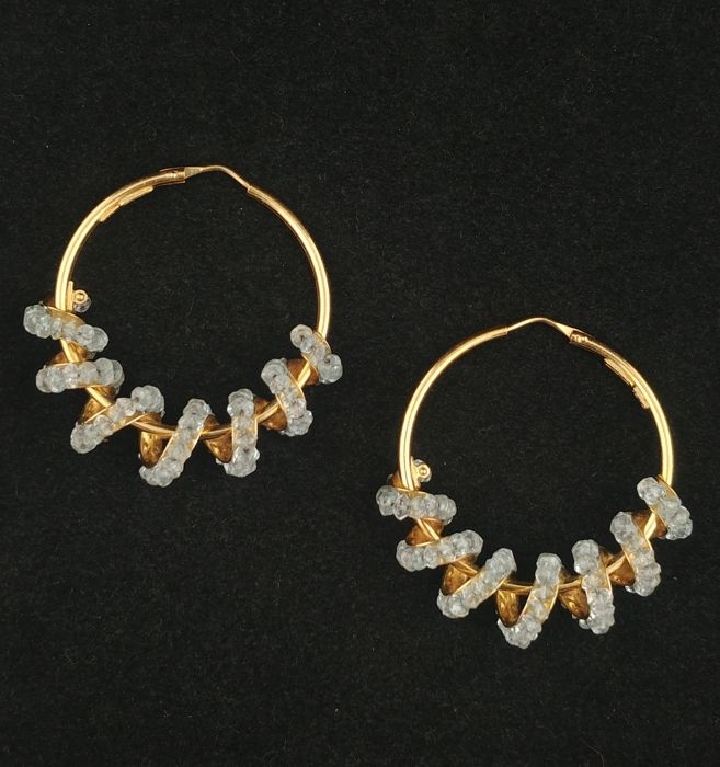Earrings in 18 kt gold with rock crystal - made by Legi