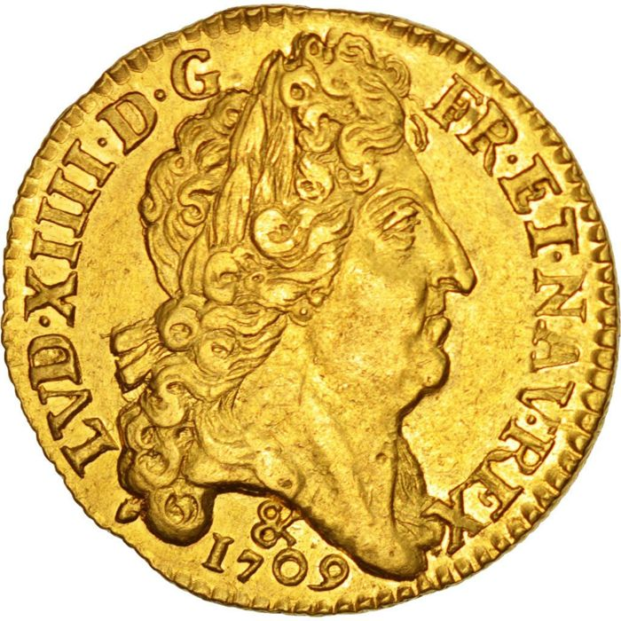 France - Louis XIV (1643-1715) - Gold Louis with sun 1709 & (Aix) - gold