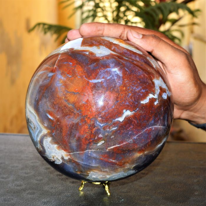 Red Fancy Jasper Stone Sphere Ball - 170 mm - 6725 gm