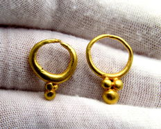Ancient Bronze Age (European) Pair of Gold Earrings - Extremely Rare Items - 16-18 mm