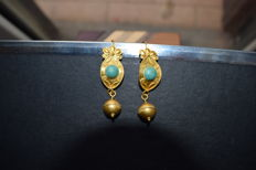 Pair of 24 carat gold earrings Italy Grand Tour XIX century Cm.55x1,5 Cm.  Grams Weight 8.7