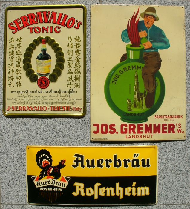 3 sheet metal advertising signs - Gremmer's snuff tobacco / Auerbräu beer / Serravallo tonic - Germany / Italy, 1930s/50s