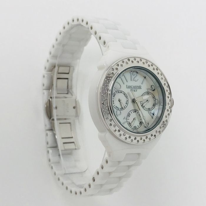 Lancaster - Lady Ceramic Diamonds 0.59 ct 36 mm White and MOP - OLA0649SS/BN - Dames - NEW