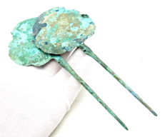 Ancient Bronze Age Pair of Cloth Pins - 190-193mm