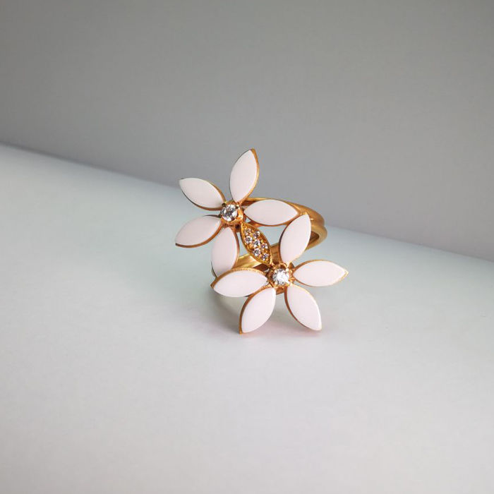 Rose gold ring (18 kt) - diamonds (0.20 ct) - white ceramics - size 15 (Italian)