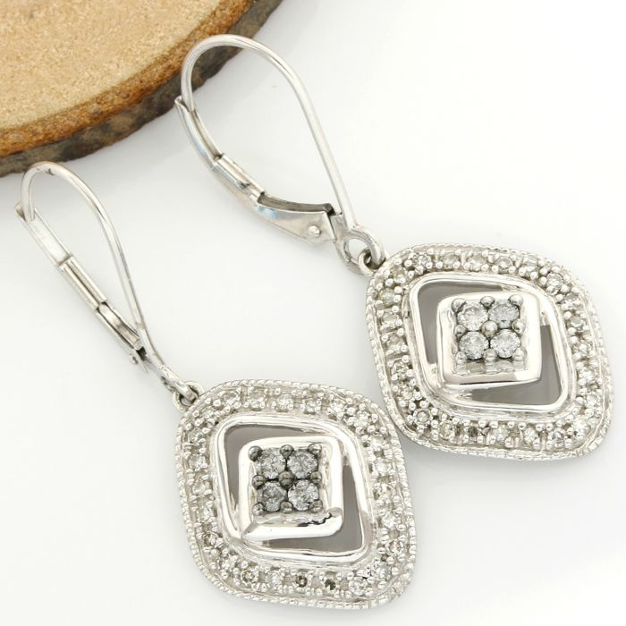 14k White Gold Earrings Set with 0.50 ct Diamond